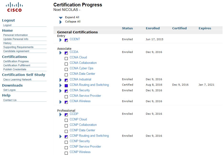 Vous pouvez voir toutes vos certifications