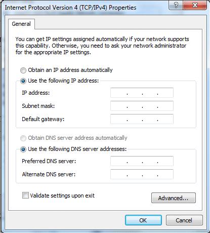 Configuration d'une adresse IP